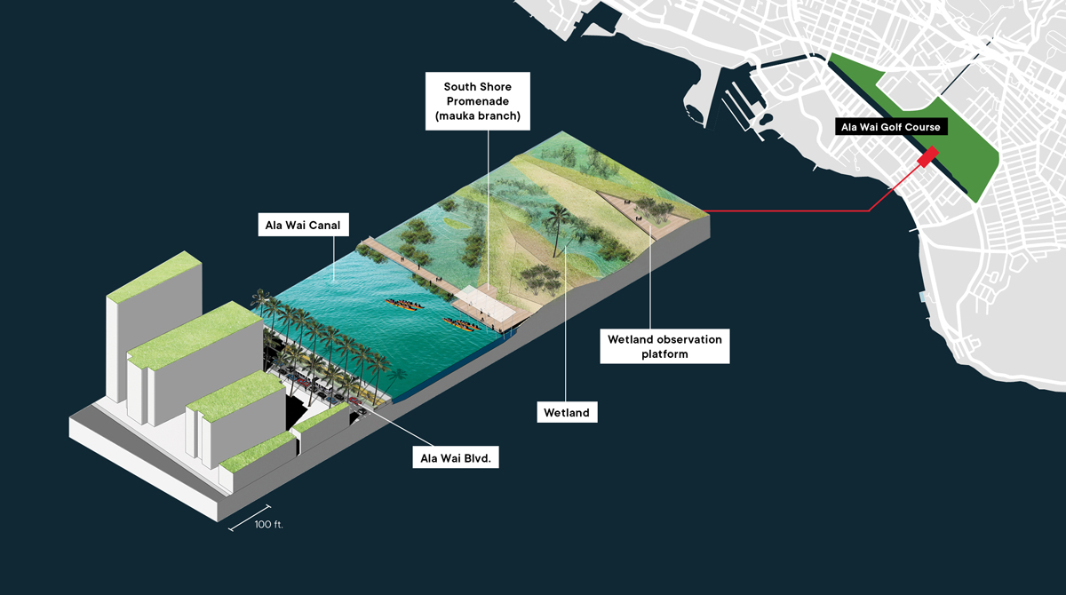 Ala Wai Golf Course may turn into wetlands, experience chronic flooding with sea level rise all along the southern shores of Oahu.